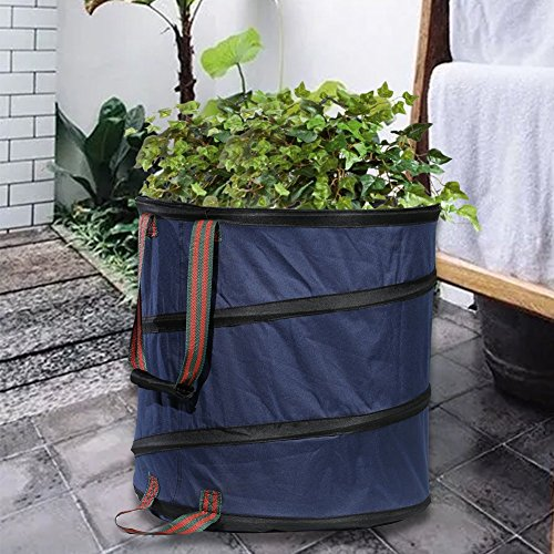Mokylor 23 Gallon Pop Up Garden Waste Bag, Camping Trash Garbage Can, Reusable Gardening Lawn and Leaf Container for the Trash Waste Laundry Compost Refuse, Dark Blue by Mokylor (Image #6)