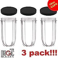3-Pack Princess Nori Replacement Cups for Magic Bullet Blender Lids 16-Oz.