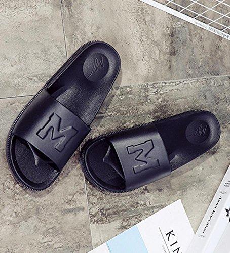 Antideslizante ducha de baño de verano ducha piscina pantuflas de playa para mujer KENROLL pantuflas planas flip-flop para hombres Negro (Hombres)