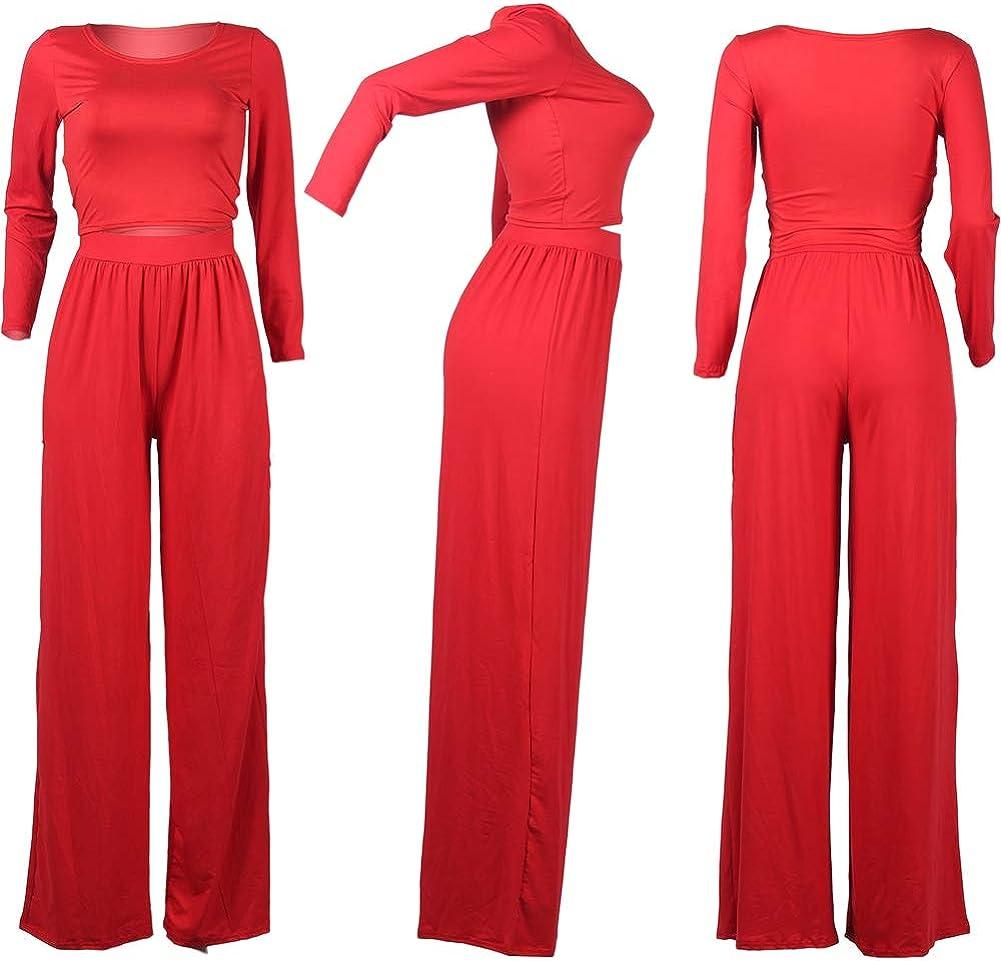 Women 2 Piece Outfits U Neck Long Sleeve Solid Color Crop Top Wide Leg Long Pants Sets