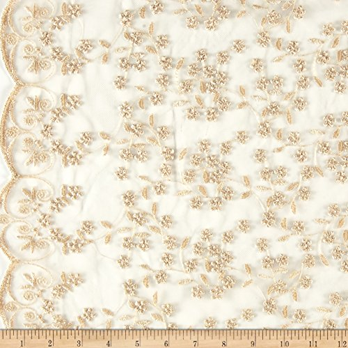 TELIO Daisy Embroidered Lace Fabric by The Yard, Gold