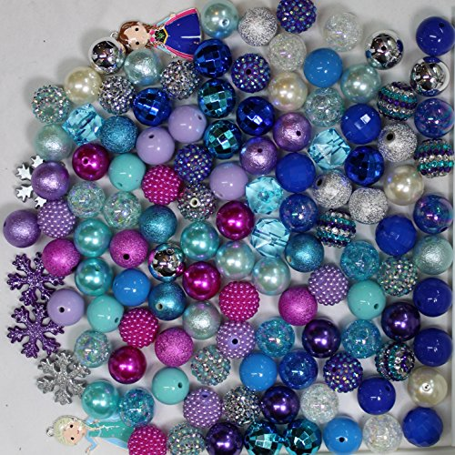 Ice Princess Party Theme Bulk Mix of 20mm Bubblegum Beads in Pink, Purple, Turquoise, Blue with 2 Pendant (Turquoise Beads Wholesale)