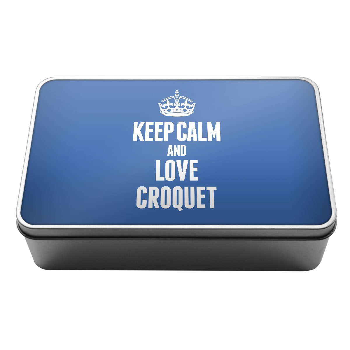 BLUE Keep Calm and Love Croquet Metal Storage Tin Box 1727 Duke Gifts