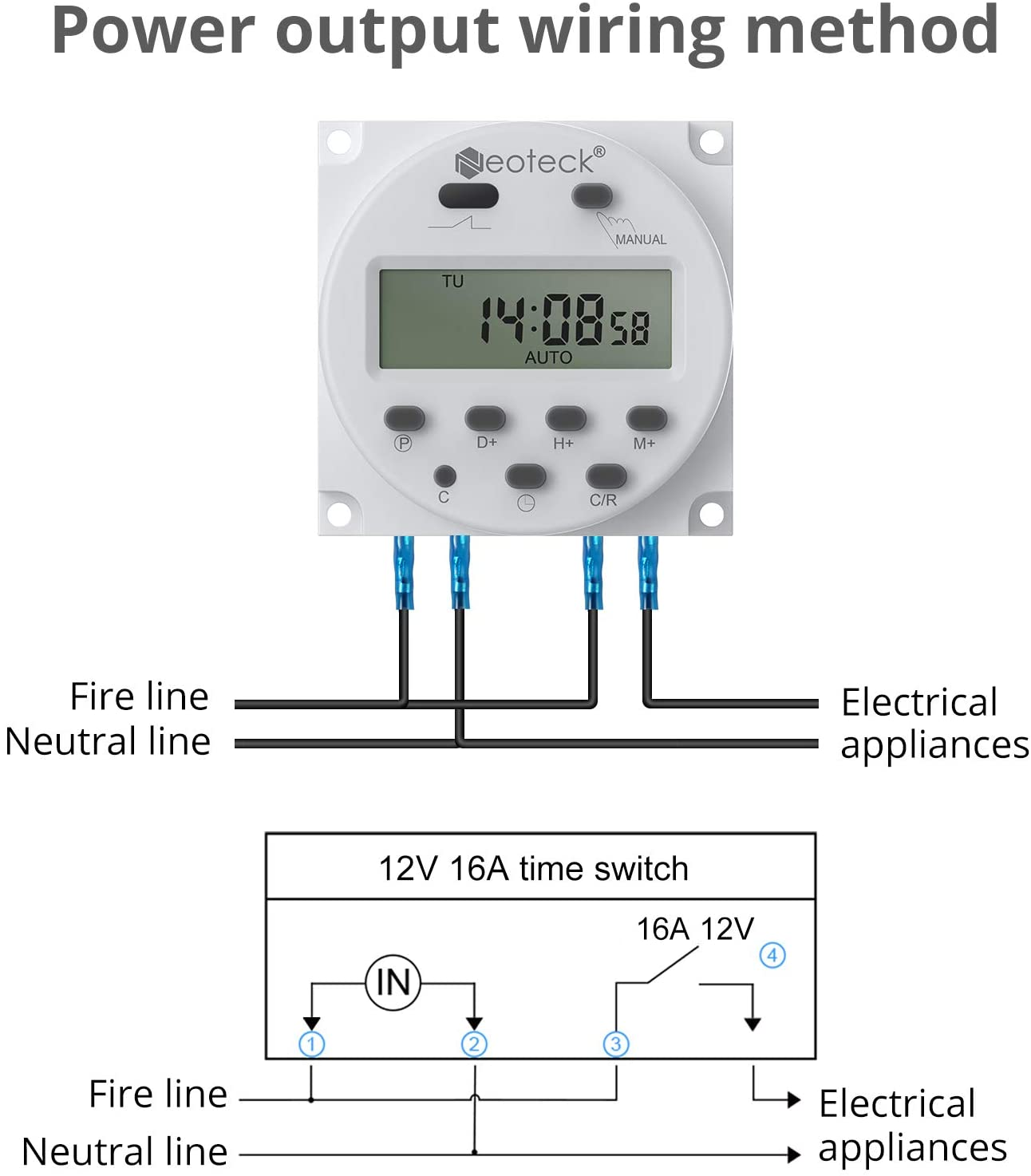 Neoteck DC 12V Timer Switch 16A Digital Electronic LCD Time Relay ...