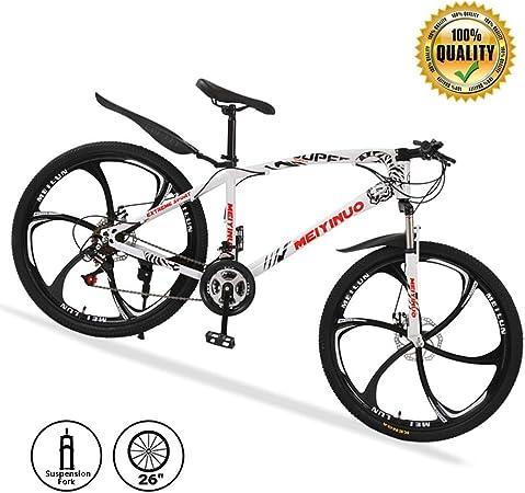 M-TOP 26 24 Velocidades Bicicleta de montaña Delantero Suspension, Bicicleta de Carretera para Mujer/Hombre, Doble Frenos Disco, Mountain Bike de Carbon Acero,Blanco,6 Spokes: Amazon.es: Hogar