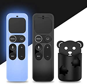 [2 Pack] Glowing Protective Case for Apple TV Siri Remote 4K, 4th/5th Gen Remote, Anti Slip [Skin-Friendly] Silicone Cover for Apple TV Siri Remote Controller[Holder Included] (Black&Blue)