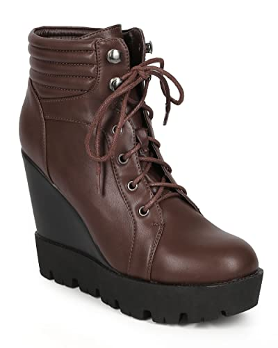 CH39 Women Leatherette Lace Up Lug Sole Wedge Combat Bootie - Brown Leatherette