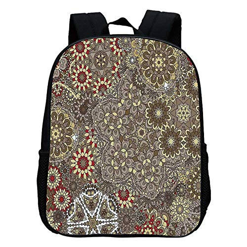 Batik Decor Durable Kindergarten Shoulder Bag,Vintage Paisley Forms with Batik Style Flowers and Circles Moroccan Persian Patterns For school,11.8