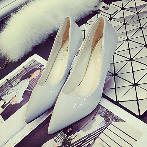Xue Qiqi luz del Alto Talón Zapatos con Punta Fina Negro Zapatos de Trabajo, Calzado con una Rosa de Zapatos de Mujer Gris