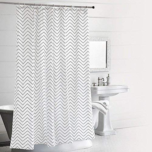 n, Seavish White and Black Chevron Mildew Resistant Waterproof 72 x 78 inches Long Bathroom Shower Curtain Set with Hooks (Wavelike Chevron) ()