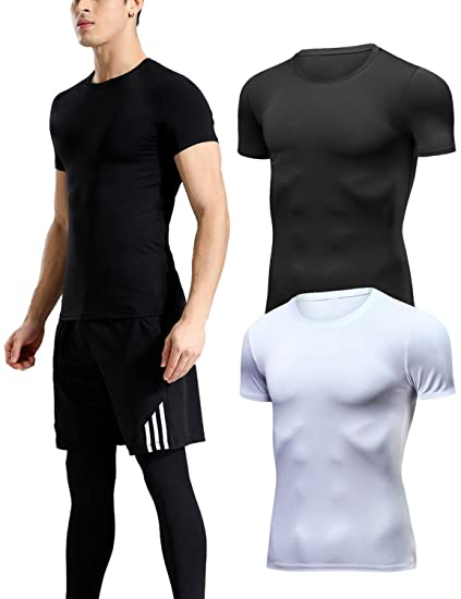 10a13283 Lavento Men's Cool Dry Compression Shirts Crew Neck Short-Sleeve Workout T- Shirts (
