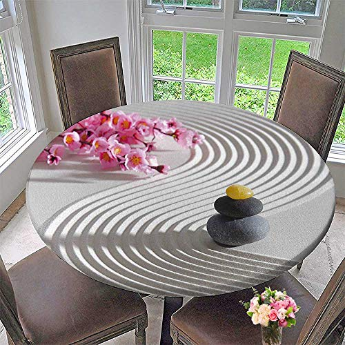 Mikihome Circular Table Cover Zen Stones of Meditation Sand with Orchids Relax Yoga Spirit Pearl Pink Dimgrey for Wedding/Banquet 43.5