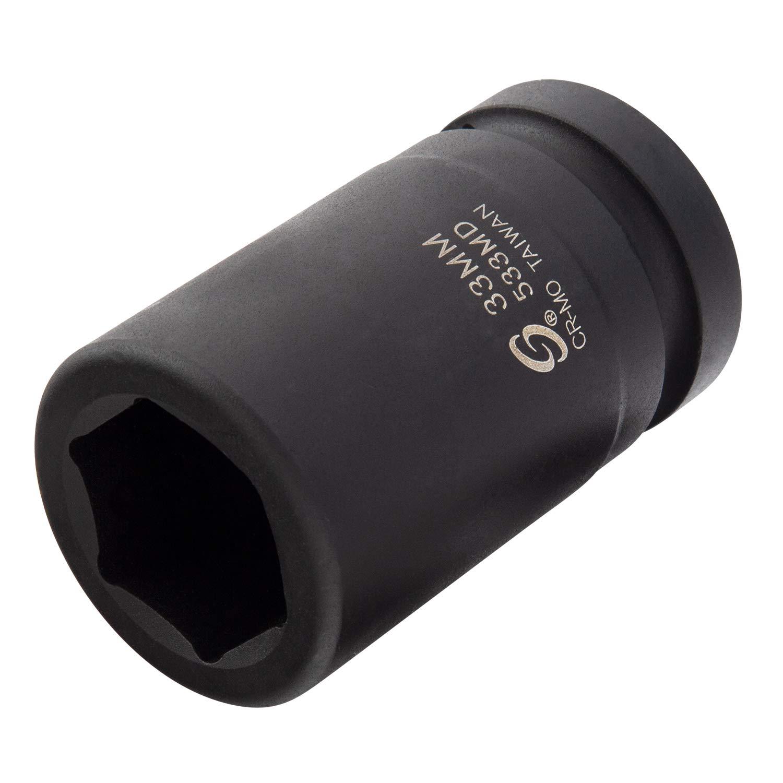 Sunex 533MD, 1 Inch Drive, 33mm Deep Impact Socket, Cr-Mo Steel, Radius Corner Design, Chamfered Opening, Dual Size Markings by Sunex Tools