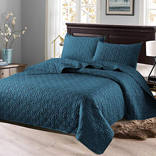 Exclusivo Mezcla 3-Piece Queen Size Quilt Set with Pillow Shams, as Bedspread/Coverlet/Bed Cover(Grid Blue) – Soft, Lightweight, Reversible& Hypoallergenic