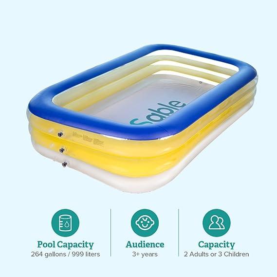 Sable Piscina Hinchable de Casa para Bebe (2 Adultos O 3-5 Niños, para Aire Libre De PVC Y BPA, Se Infla en 3 Minutos, Kit De Reparación De Parches) ...