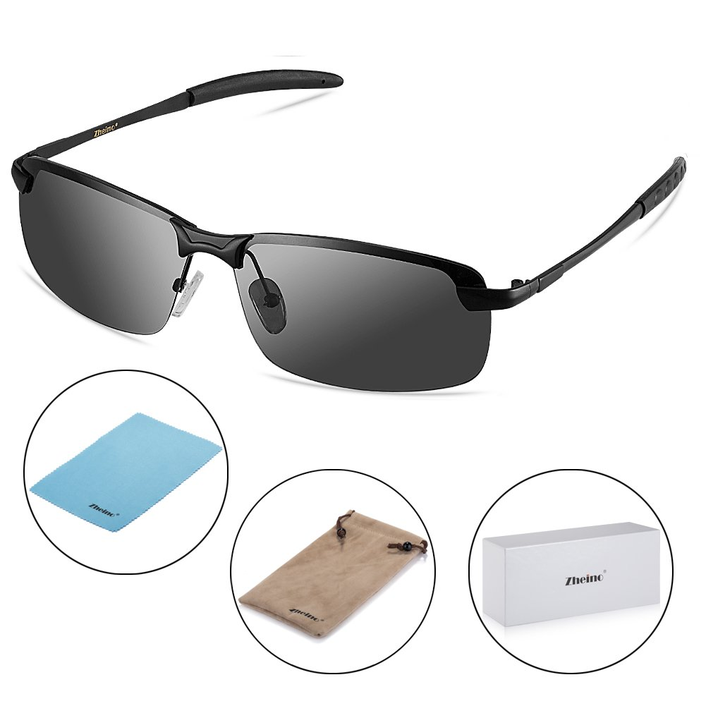 Zheino 5909 HD Nachtsicht Polarisierten Sonnenbrille, UV400 Blendfreie fahren Polarisierte Sonnenbrille Grau + Case 5909 Grey + Case