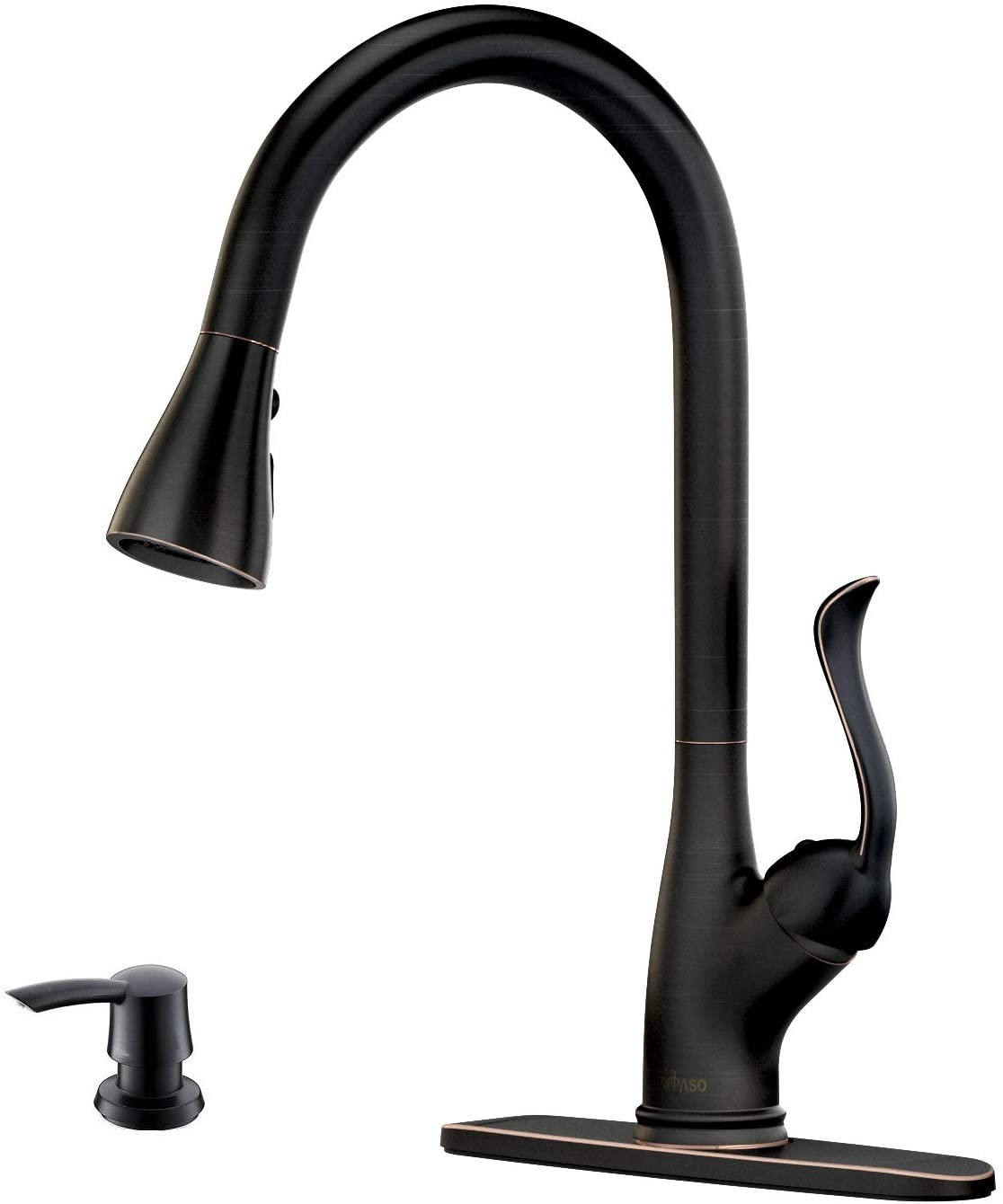 Patented Pull Down Kitchen Faucet With Sprayer Oil Rubbed Bronze Single Handle Antique One Hole High Arc Pull Out Kitchen Sink Faucets And Soap Dispenser Appaso Amazon Com