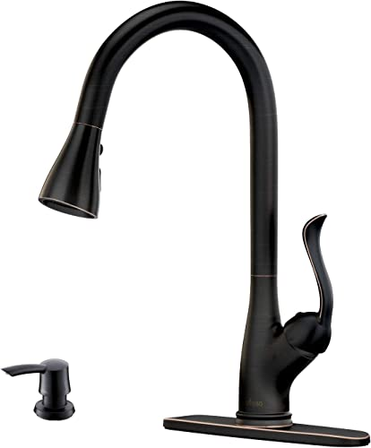 Patented Pull Down Kitchen Faucet with Sprayer Oil Rubbed Bronze – Single Handle Antique One Hole High Arc Pull Out Kitchen Sink Faucets and Soap Dispenser, APPASO