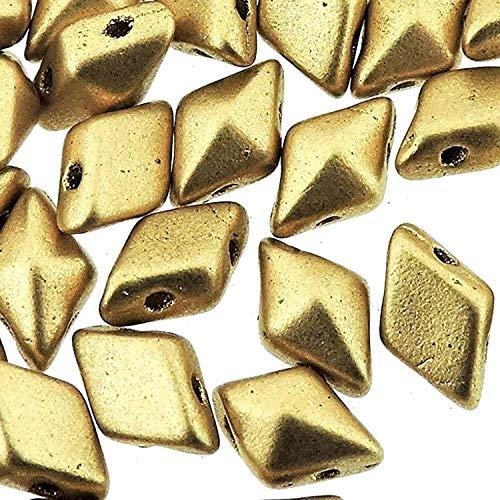 Czech Glass DiamonDuo, 2-Hole Diamond Shaped Beads 5x8mm, 10 Grams, Matte Gold