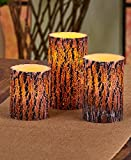 The Lakeside Collection Set of 3 Brown Bark Wood-Look LED Candles with Remote