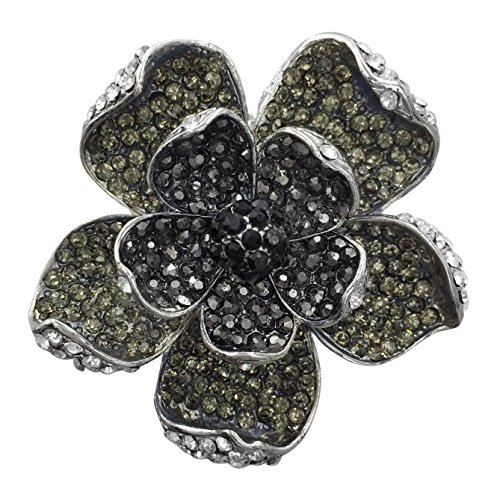 Large Flower Statement Big Stretch Cocktail Ring (Black Grey Clear Covered Rhinestone) Flower Cocktail Adjustable Ring