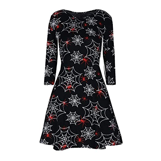 4b8ae1b18cff Amazon.com  Womens Dresses Clearance Sale! Women s Halloween Printing Long  Sleeve Casual Evening Party Prom Dress  Clothing