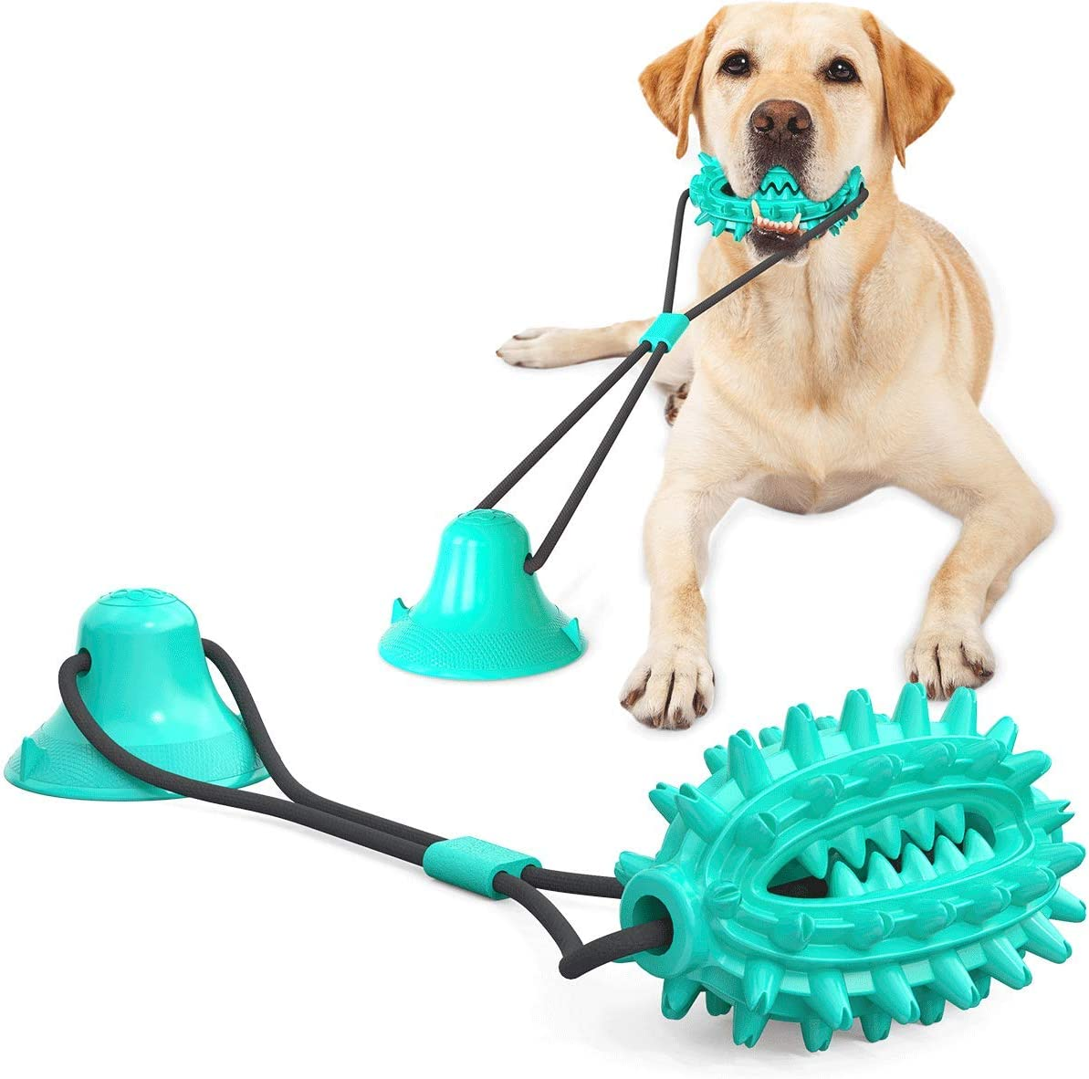 Guardians Dog Chew Toy with Suction Cup for Aggressive Chewers, Puppy Training Treats Food Dispensing Toothbrush Pet Teeth Cleaning Rope Toys for Small Medium Dogs