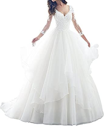 Adodress Romantic lace long sleeves wedding dresses for bride fashion princess A-line prom dresses: Amazon.co.uk: Clothing