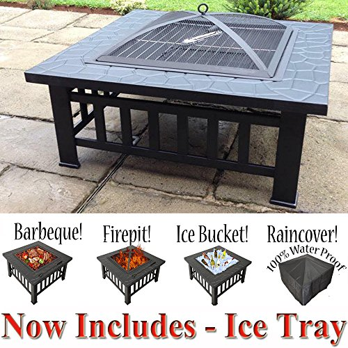 RayGar 3 in 1 Square Fire Pit BBQ Ice Pit Patio Heater Stove Brazier Metal Outdoor Garden Firepit + Protective Cover (Now Includes Ice Tray) FP39 - New
