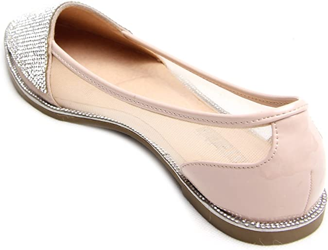 Femmes Femme Strass ballets Brillant Chaussures appartements point ballerine Pumps Taille UK