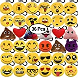 Emoji Birthday Party Decorations KUUQA 36 Pack Emoji Plush Keychain Emoji Party Decorations Supplies Birthday Treat Bag Goody Bags Favors