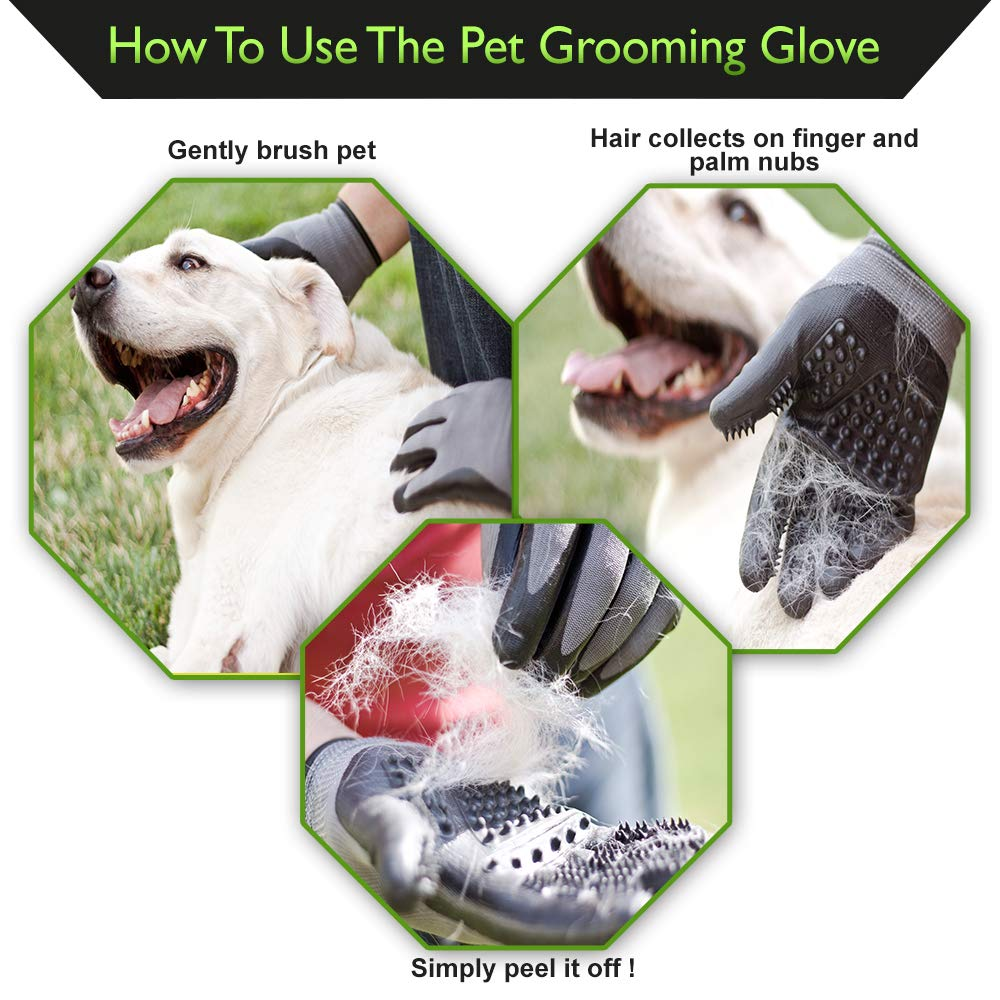 Lucky Paws Products Premium Pet Grooming Gloves – Gentle Deshedding Brush Glove - Use As A Pet Hair Remover for Shedding, Bathing & Grooming - Perfect for Cats, Dogs, Horses Or Other Pets. by Lucky Paws Products (Image #4)