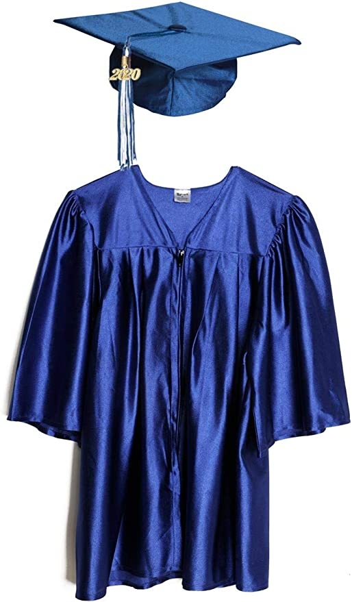 Preschool and Kindergarten Graduation Shiny Gown Cap Tassel with 2019 Year Charm