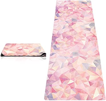 YOGA DESIGN LAB | The Travel Yoga Mat | 2-in-1 Mat+Towel | Lightweight, Foldable, Eco Luxury | Ideal for Hot Yoga, Bikram, Pilates, Barre, Sweat | 1mm ...