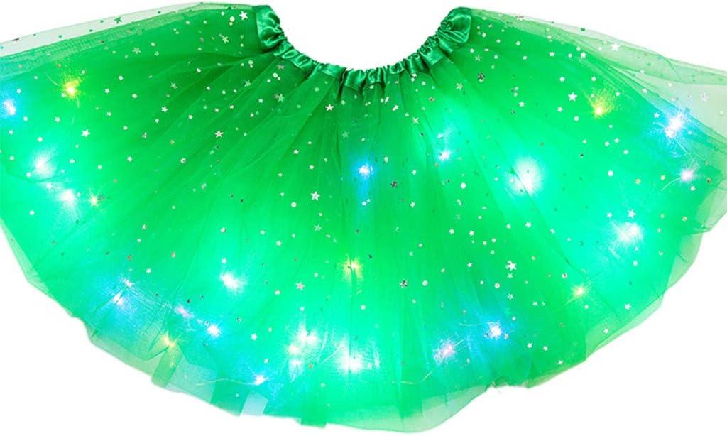 CARRYKT Gonna Tutu in Tulle con Tulle per Danza Classica con Paillettes a Stelle Illuminate a LED per Bambini 3-12T