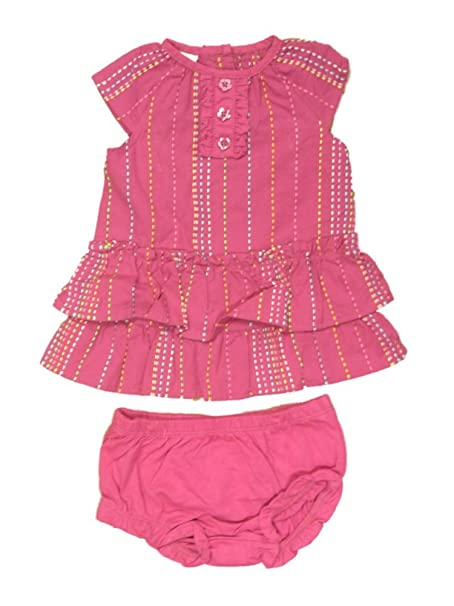 43cf779c1 Image Unavailable. Image not available for. Color: Infant Girls Pink  Embroidered Striped Ruffled Dress Set Baby Outfit
