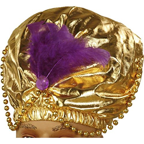 Genie Turban Adult Costume Hat Gold Sheik Karnak Sultan Swami Purple Feather (Adult Sultan Sheik Hat)