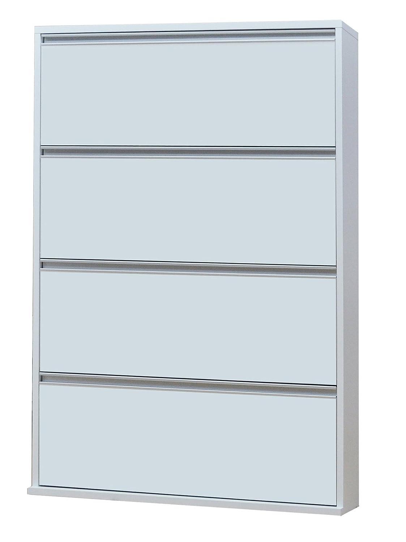 協栄産業 薄型木製シューズボックス 4段 幅90cm MK904 ホワイト B06XGX1V4M 4段 幅90cm|ホワイト ホワイト 4段 幅90cm