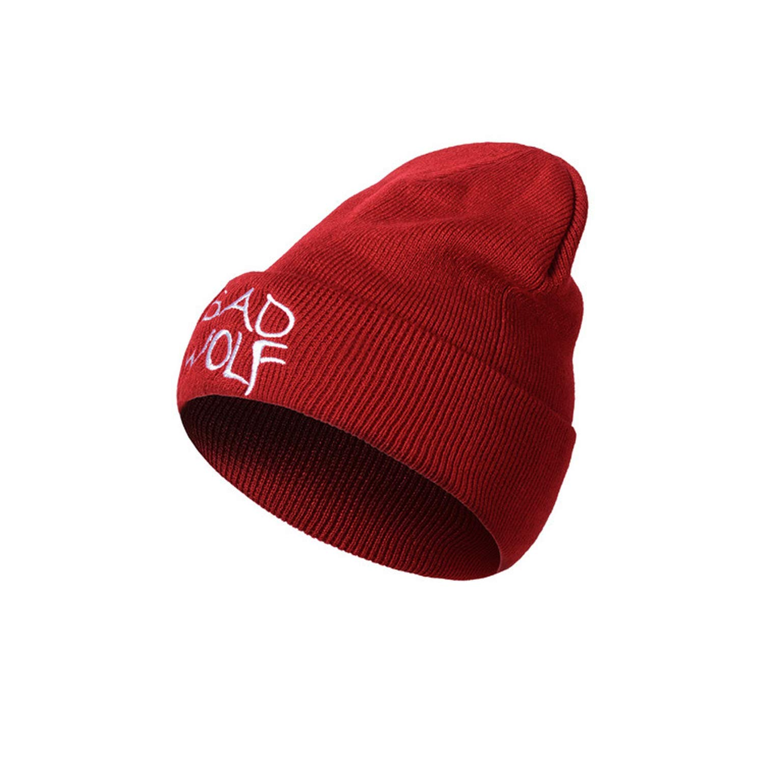 3a6c17aab20 Winter Knitted Hat Warm Casual Beanie Caps Hip hop Bad Wolf Letter  Embroidery 2019 New Female Fashion Hats at Amazon Women s Clothing store