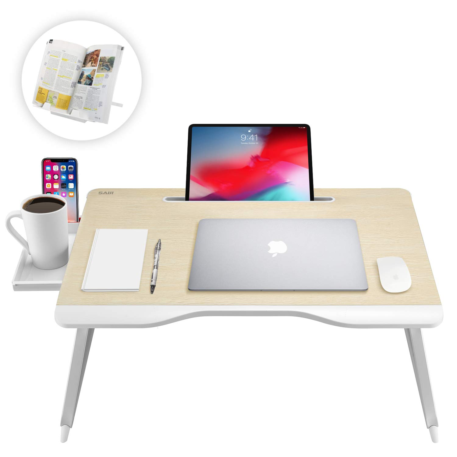 Saiji Multi-Function Laptop Desk Table, with Handrest Bookstand, Tablet Stand, Phone Stand, Storage Drawer, Cup Holder, for Bed Sofa Couch Carpet Floor (Oak)