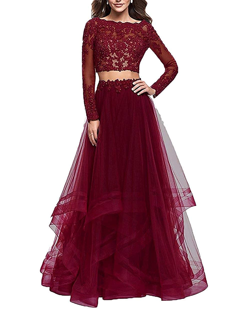 Burgundy Sulidi Womens Lace Long Sleeves 2 Piece Tulle Prom Dresses 2019 Long Backless Formal Evening Gowns C238