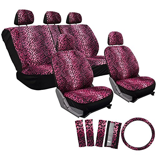 Moto Cover Seat Seat (OxGord 17pc Set Leopard Animal Print Auto Seat Covers Set - Front Low Back Buckets - Rear Split Bench - Pink)