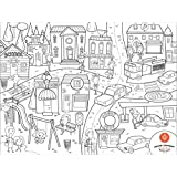Prince Lionheart Color and Draw Reusable Silicone Placemat with Markers and Travel Sleeve, City