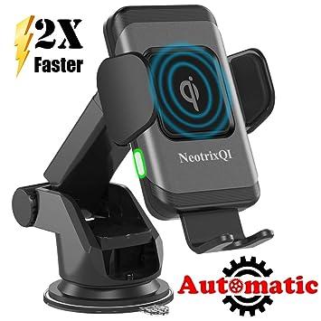 NeotrixQI Cargador inalámbrico Coche, Inducción automática Qi Carga rápida, Soporte de ventilación de Coche y el salpicadero 7.5W para iPhone XS ...