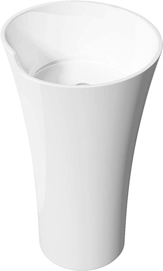 Mai /& Mai lave main /évier vasque 45x45x90cm en r/ésine de synth/èse blanc rond avec per/çage pour robinet lavabo avec trop-plein /à poser au sol Col35