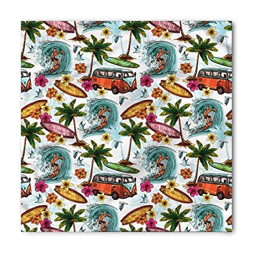 Ocean Bandana by Ambesonne, Hawaiian Surfer on Wavy Deep Sea Retro Style Palm Trees Flowers Surf Boards Print, Printed Unisex Bandana Head and Neck Tie Scarf Headband, 22 X 22 Inches, (Hawaiian Bandana)