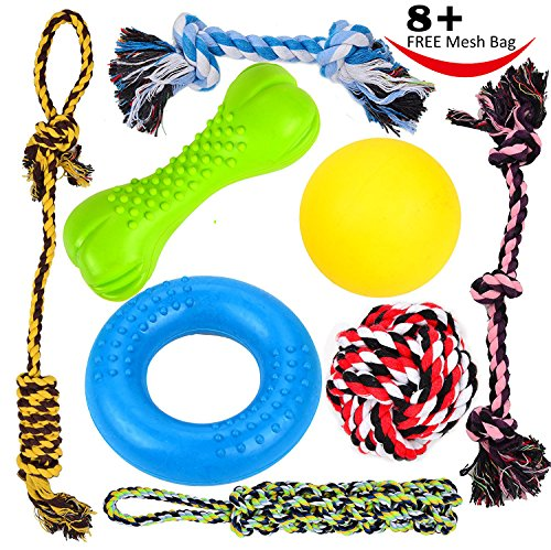 61aUT7uO7RL - Youngever 8 Durable Dog Chew Toys - Puppy Toys - Value Pack - for Small & Medium Dogs -3 Puppy Teething Toys 100% Natural Rubber(Dog Ring, Dog Bone, Dog Ball)-5 Dog Ropes Toys
