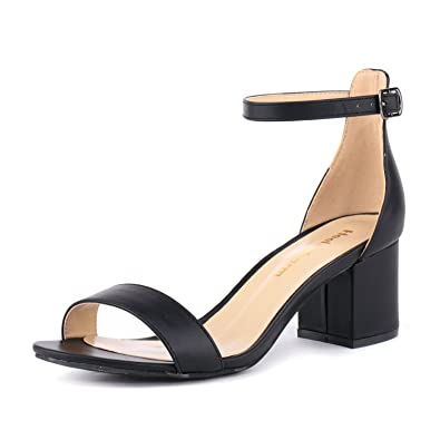 56e08dd48 Women's Strappy Chunky Block Low Heeled Sandals 2 Inch Open Toe Ankle Strap High  Heel Dress