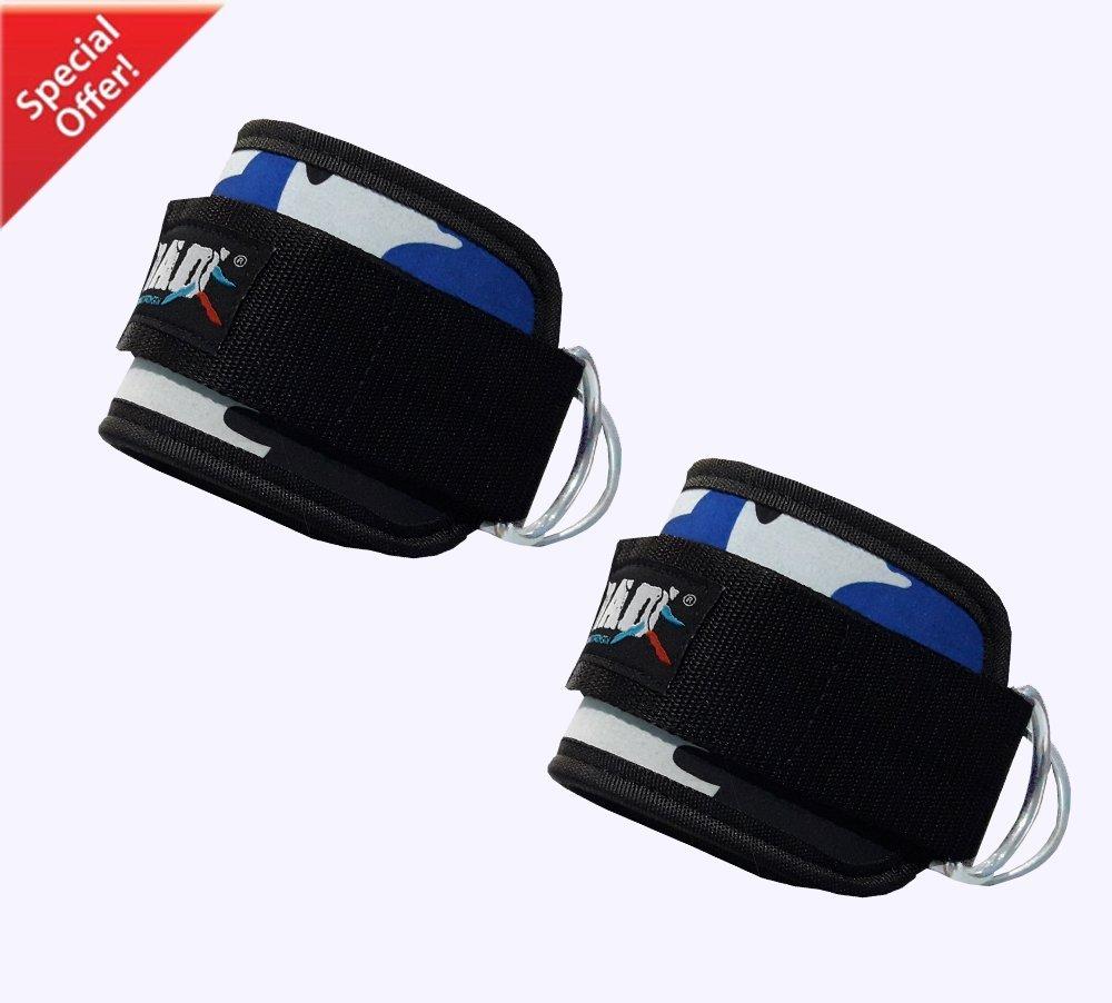 2cinghie di allenamento per caviglie, doppi anelli a D per sollevamento pesi, Black 2fit