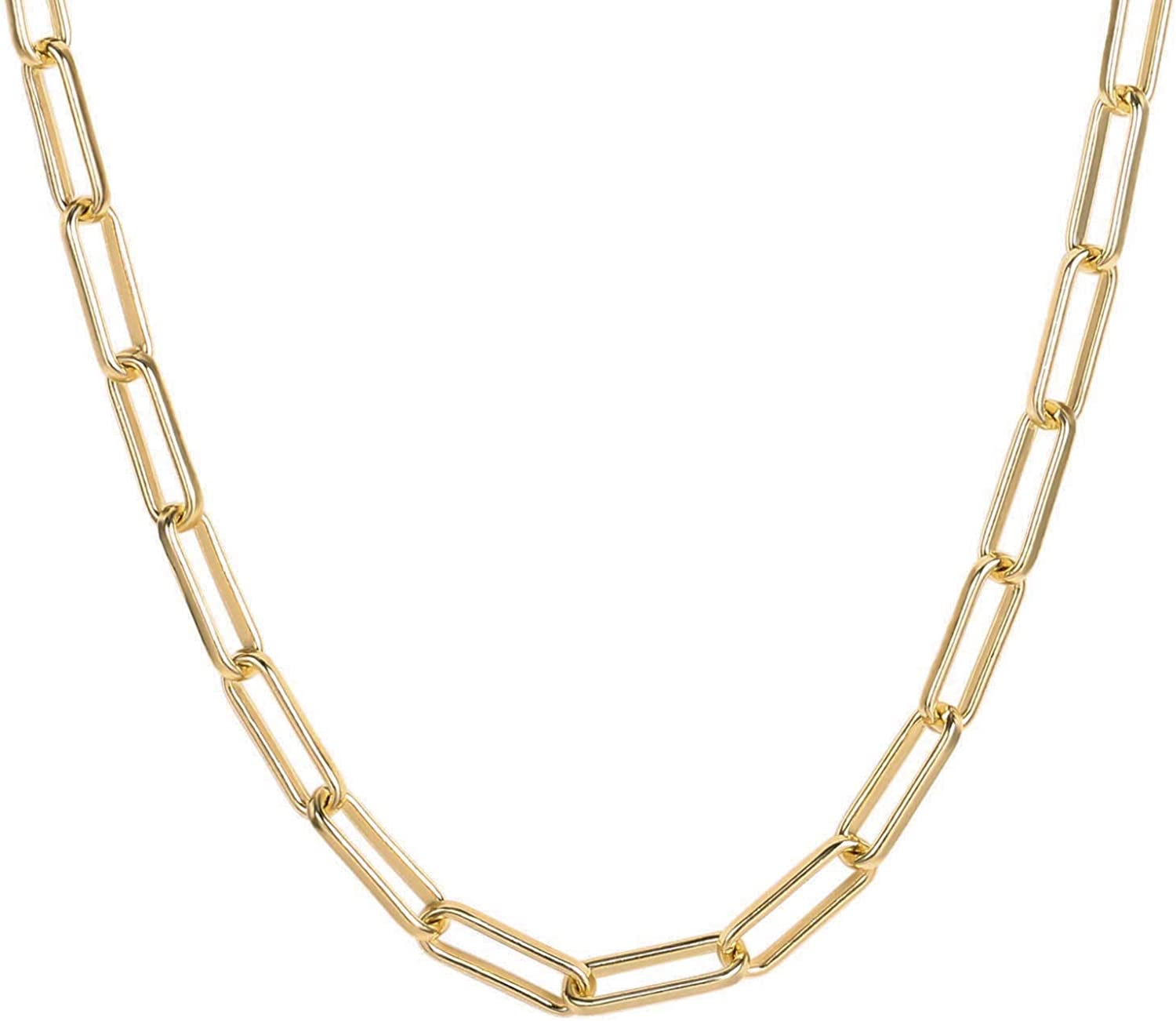 Fettero Geometric Necklace Gold Triangle Spike Pendant Dainty Paperclip Chain Long 14K Gold Plated Minimalist Simple Boho Hypoallergenic Jewelry Gift for Women Men